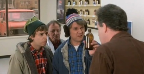 bob and doug mckenzie try to get free beer using a mouse in a bottle