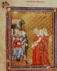 14th century illustration of Moses being found from Golden Haggadah (image source: http://www.bl.uk/onlinegallery/ttp/hagadah/accessible/images/page8full.jpg)